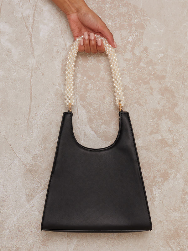 Pearl Handle Faux Leather Handbag in Black