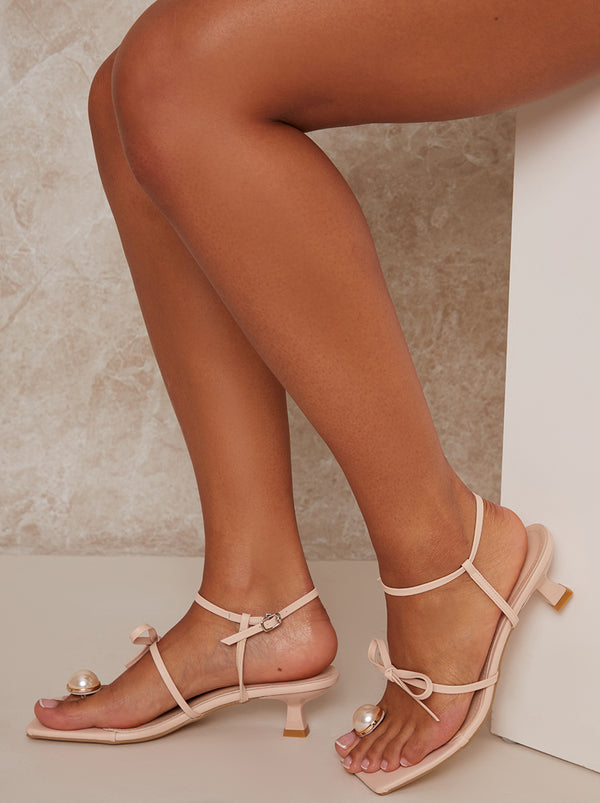 Mid Heel Pearl Square Toe Strappy Sandal in Nude