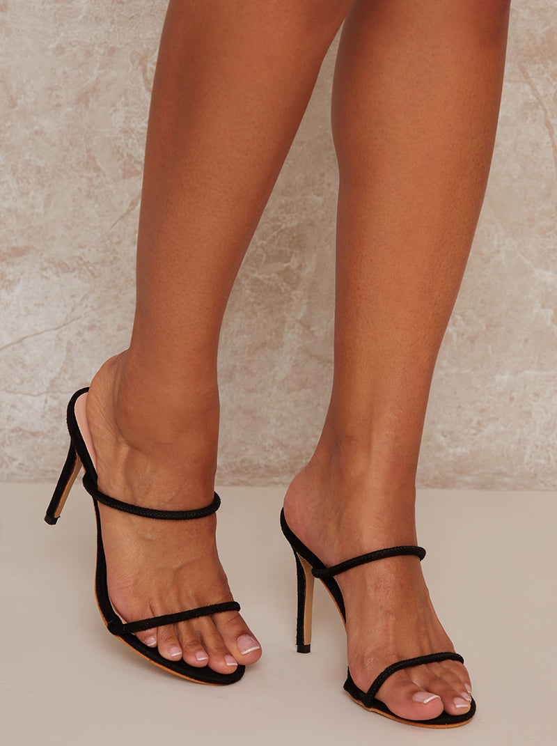 High Heel Mule Strappy Sandal in Black