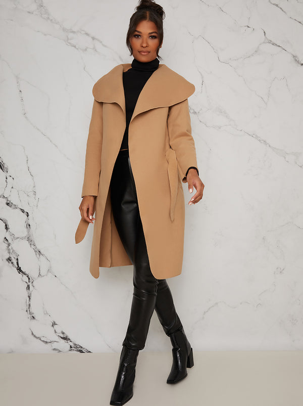 Belted Waterfall Coat Jacket in Beige