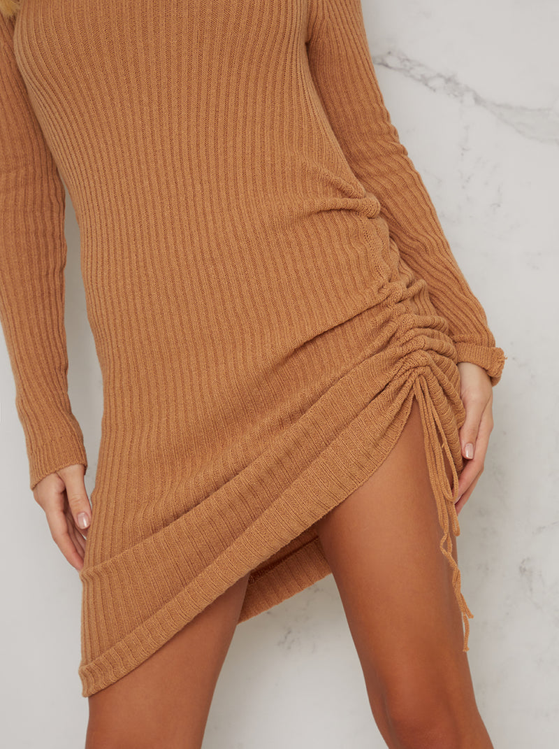 Ruched Long Sleeved Knitted Jumper Dress in Beige