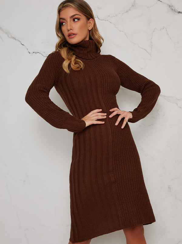 Knitted Rib Roll Neck Midi Jumper Dress in Brown