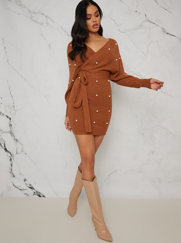 Pearl Design Wrap Detail Jumper Dress In Tan