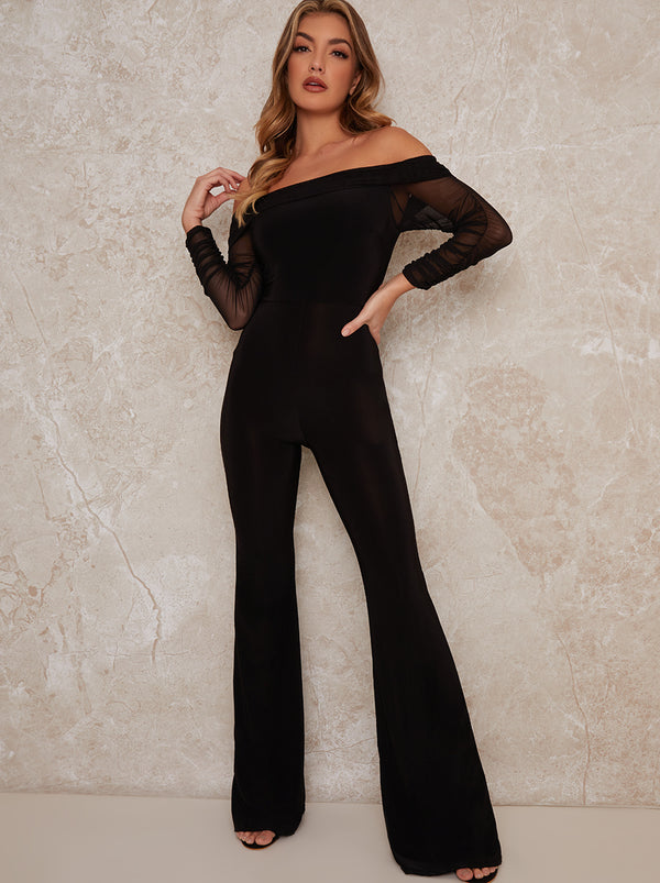 Wide Leg Bardot Sheer Sleeved Jumpsuit In Black