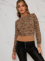 Animal Print Contrast Knitted Jumper in Beige