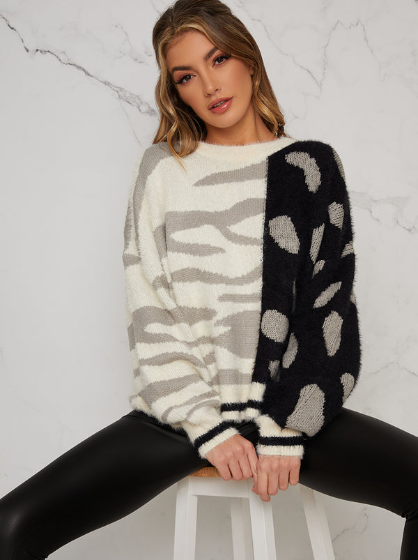 Animal Print Contrast Jumper In Mono