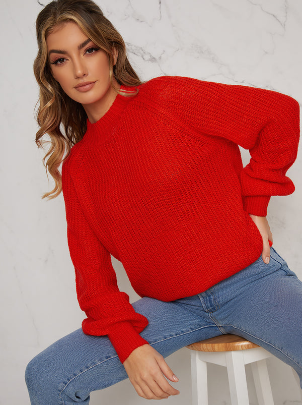 Crew Neck Long Sleeved Rib Knit Jumper in Red