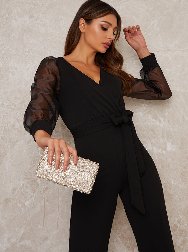 Long Sheer Sleeve Wide Leg Jumpsuit in Black