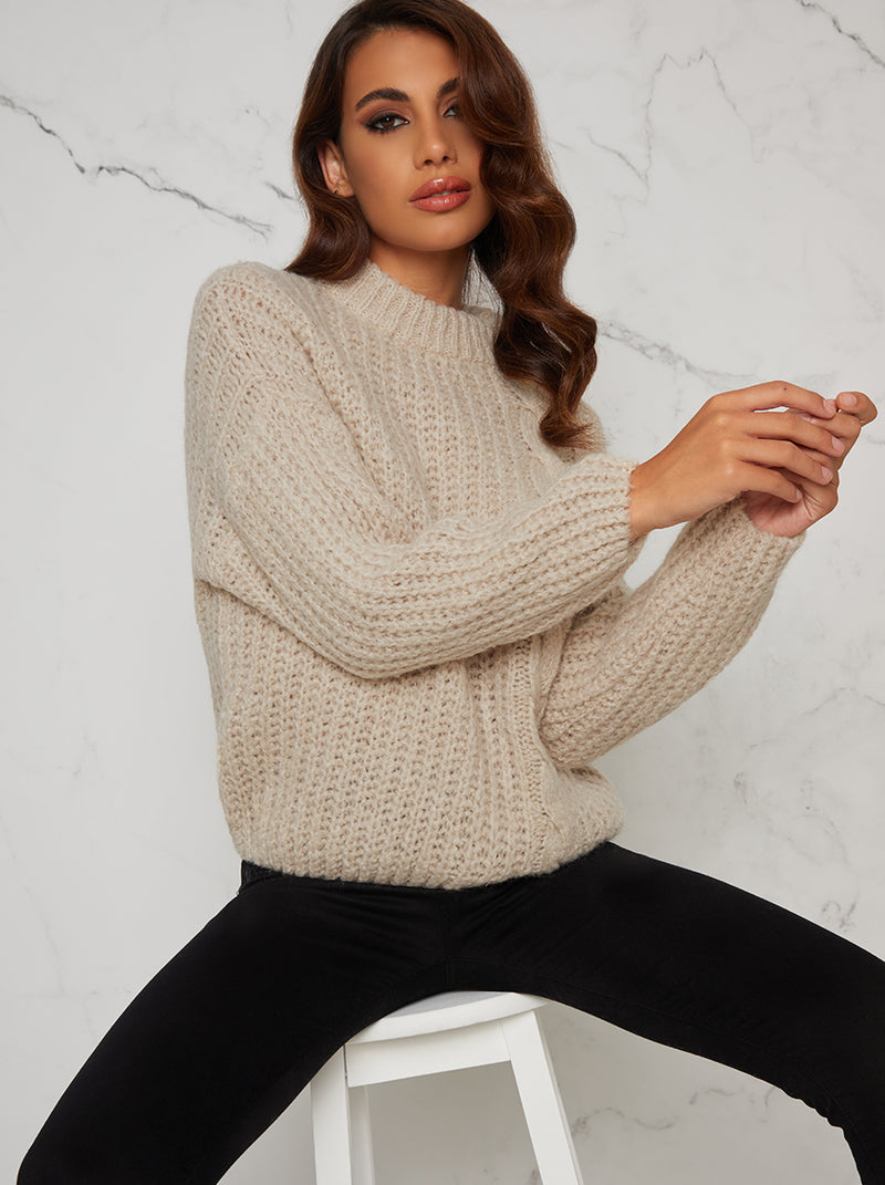 Cable Knit Jumper with High Neckline in Beige