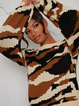 Camouflage Pattern Long Jumper in Brown