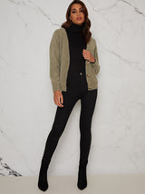 Gold Button Relaxed Fit Cardigan in Green