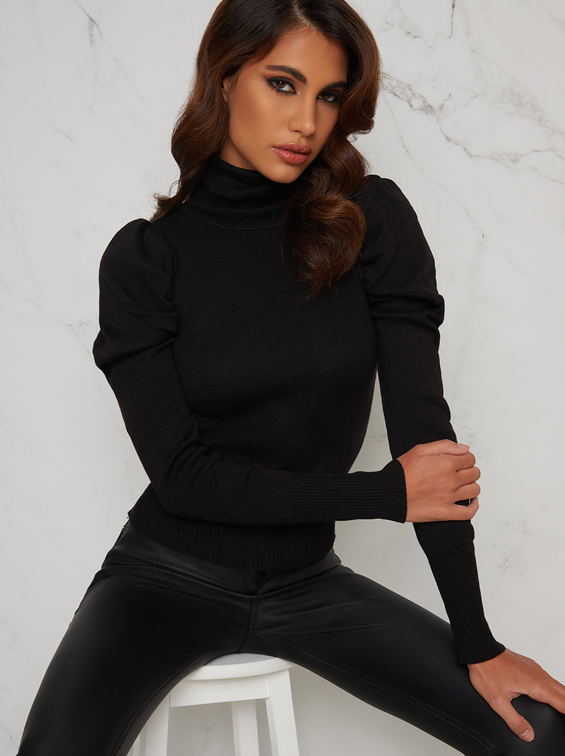 Turtle Neck Ruched Sleeve Jumper in Black