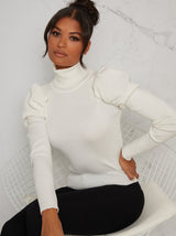 Turtle Neck Ruched Sleeve Jumper in Cream