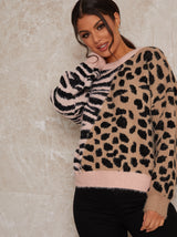 Animal Print Jumper with Knitted Design