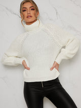 Roll Neck Rib Jumper In Cream