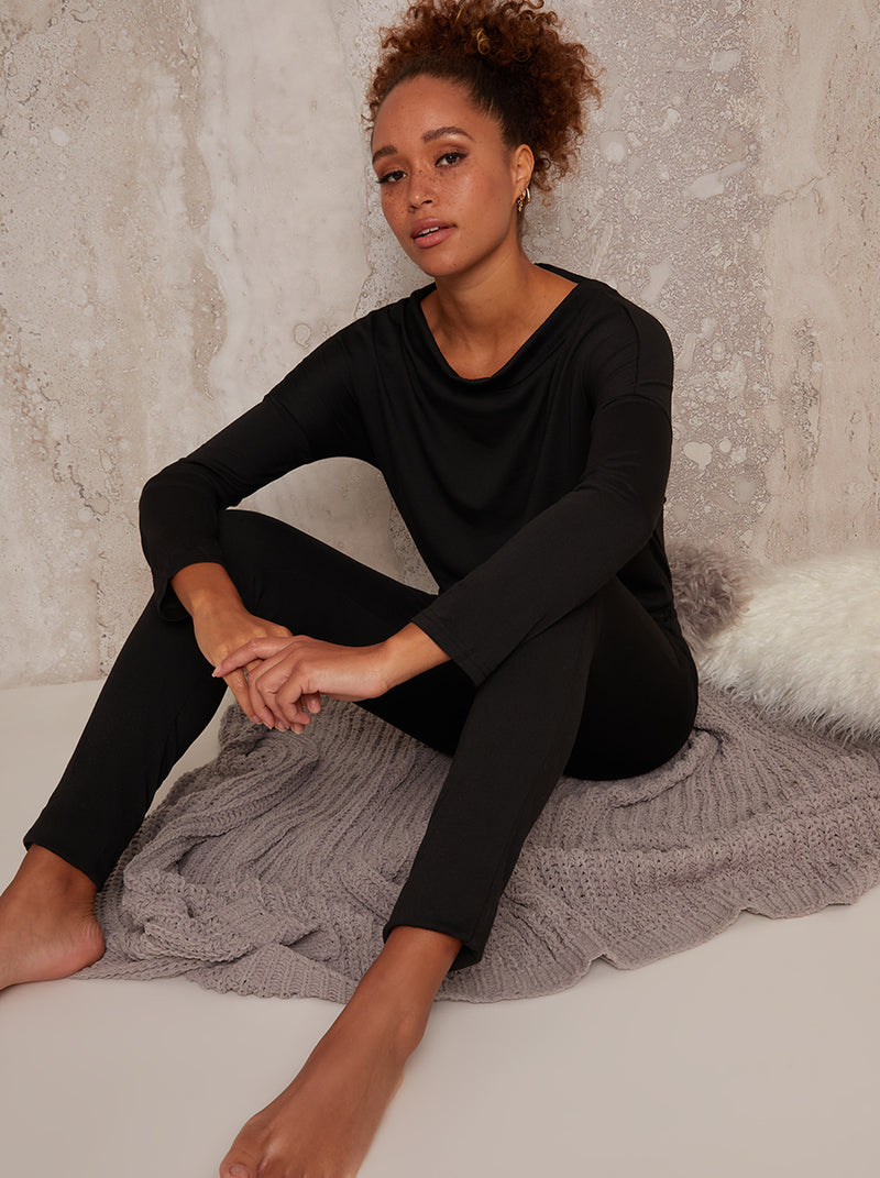 Loungewear Jumpsuit with Scoop Neck in Black