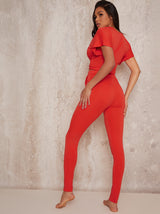 Knot Waist Lounge Set Skinny Fit in Red