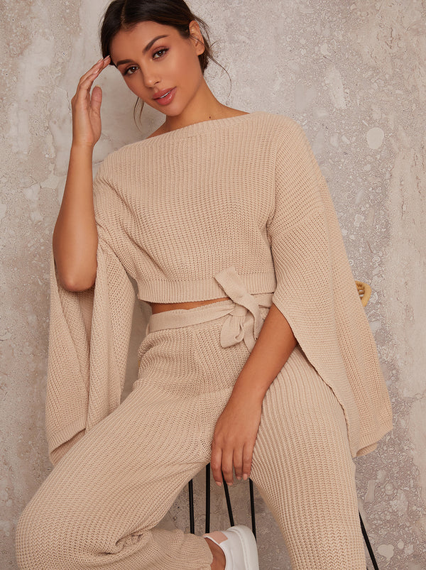 2 Peice Knitted Wide Leg Rib Lounge Set in Cream