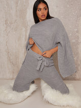Knitted Rib Lounge Set in Grey