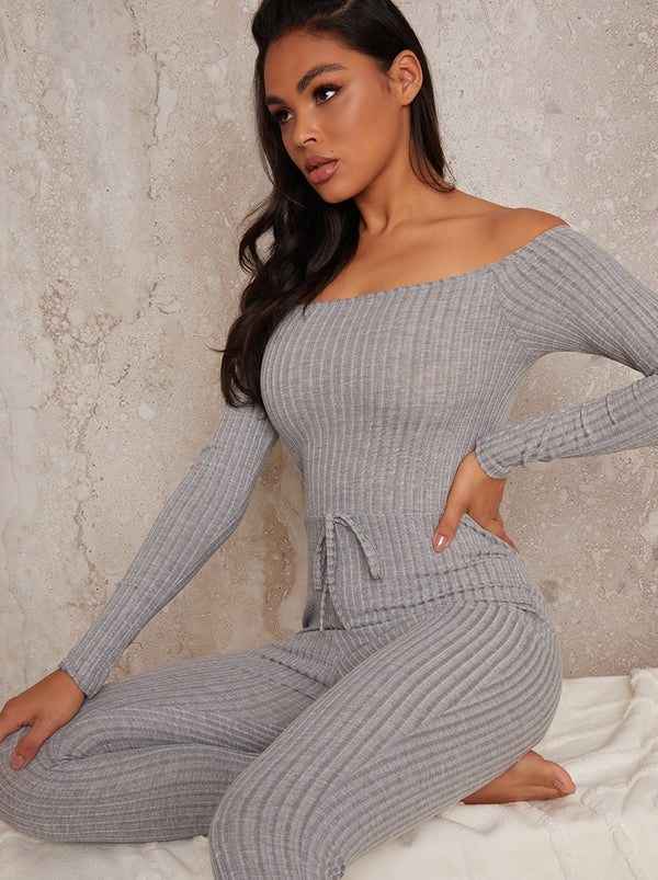 Knitted Rib Lounge Jumpsuit Skinny Fit in Grey