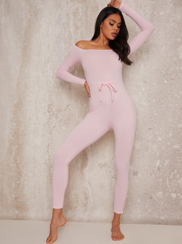 Ribbed Skinny Fit Lounge Jumpsuit in Pink
