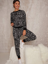 Knitted Leopard Design Lounge Set in Black