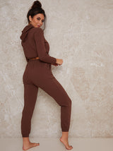 Hoodie Top Lounge Set in Brown