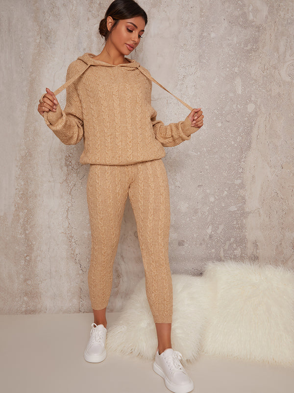 Hoodie Knitted Ribbed Lounge Set in Beige