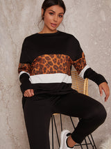 Leopard Loungewear Set with Longline Jumper And Joggers