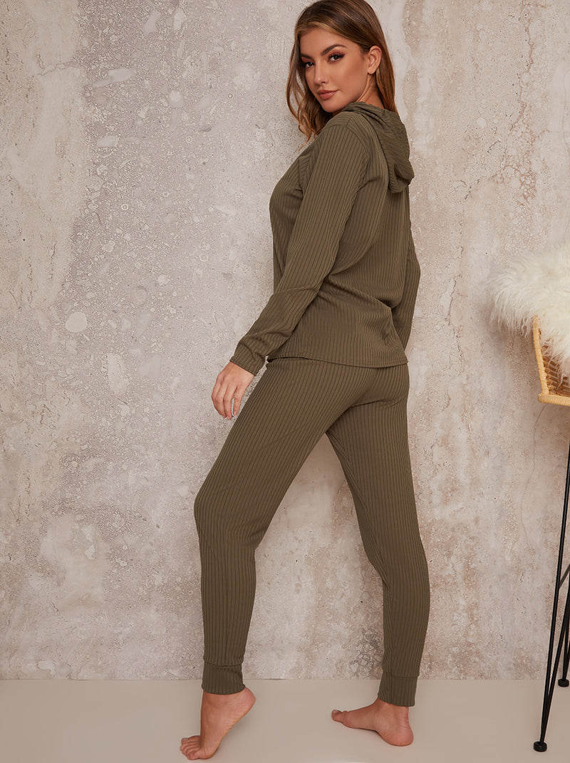 Hooded Long Sleeved Jogger Lounge Set in Green