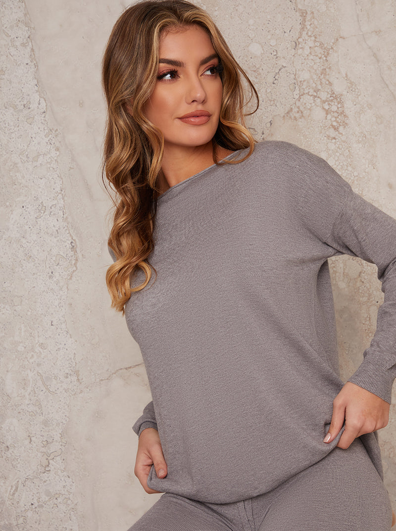 Long Sleeved Lounge Set Tight Fit Leggings in Grey