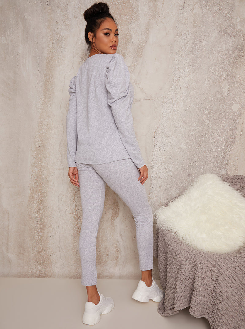 Ruched Shoulder Long Sleeved Lounge Set in Grey