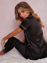 Silky Pyjama Set with Piping in Black