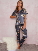 Floral Satin Short Sleeve Pyjama Set in Green