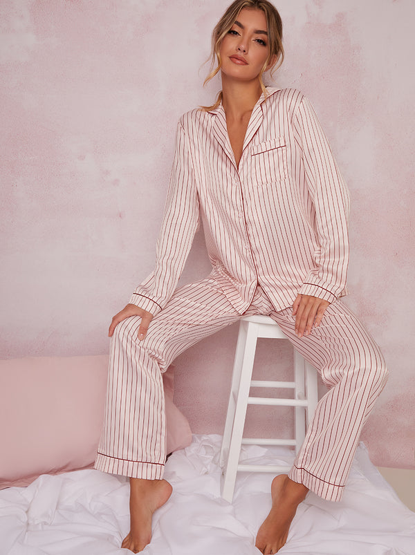 Satin Finish Pin Stripe Pyjamas In Pink