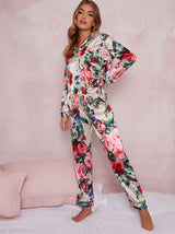 Floral Long Sleeve Silky Pyjama Set in Multi