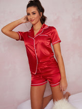 Satin Finish Piped Edge Pyjama Set In Red