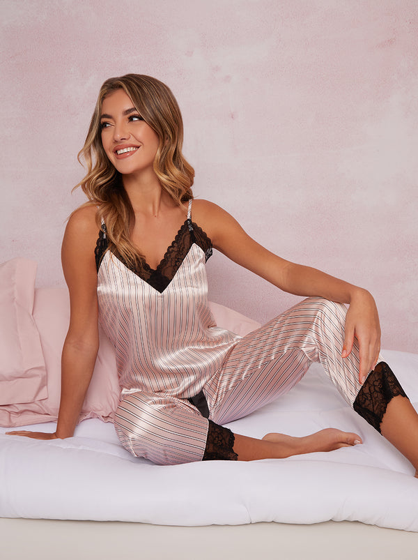 Cami Satin Look Striped Lace Pyjama Set in Pink