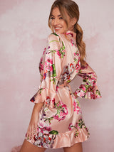 Satin Floral Ruffle Rob in Pink