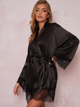 Satin Finish Lace Hem Robe in Black