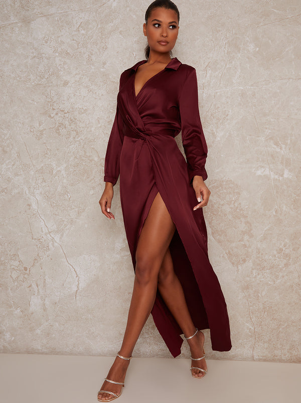 Wrap Long Sleeve Split Midi Dress in Red