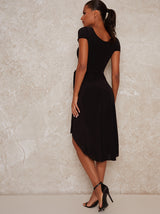Tie Waist Wrap Style Midi Dress in Black