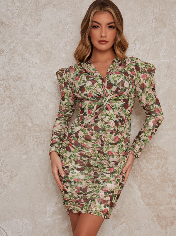 Long Sleeve Floral Ruched Midi Dress in Multi