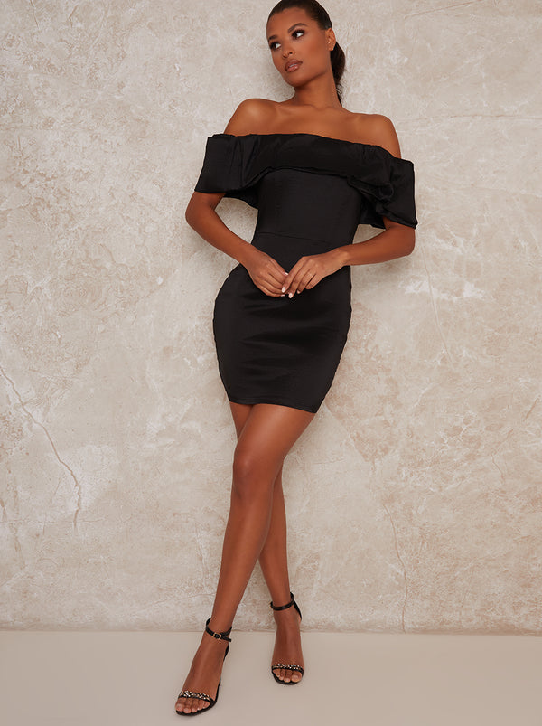Bardot Style Satin Finish Mini Dress in Black