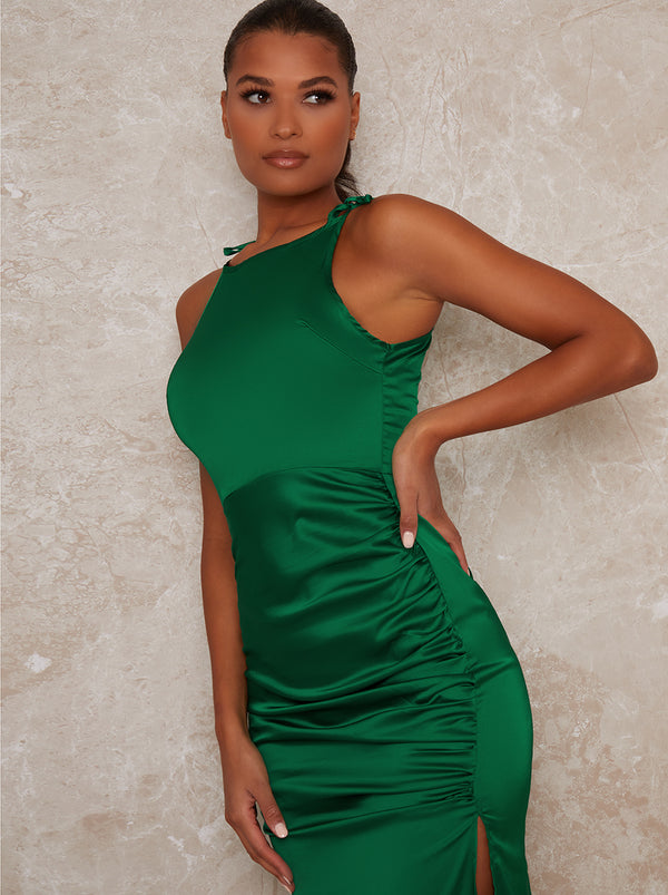 Ruched Satin Finish Fitted Midi Dress in Green