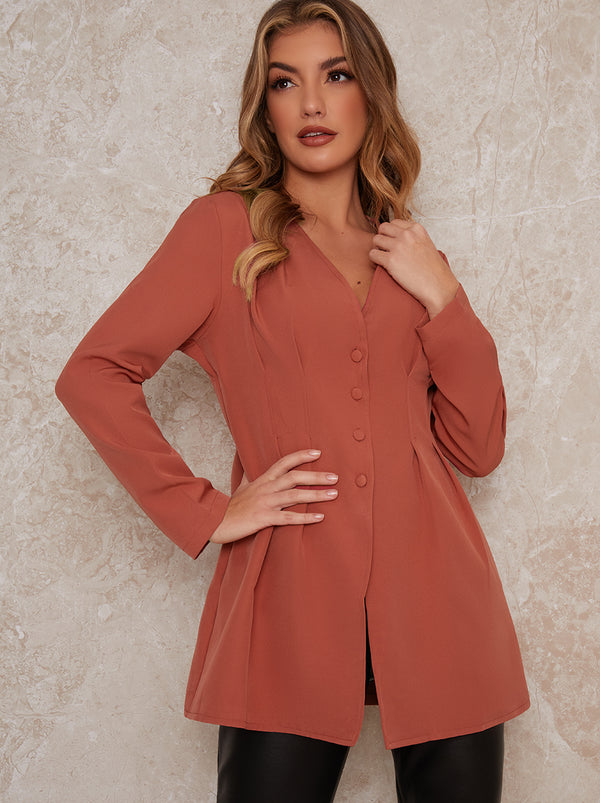 Long Sleeved Button Through Pleat Shirt In Orange