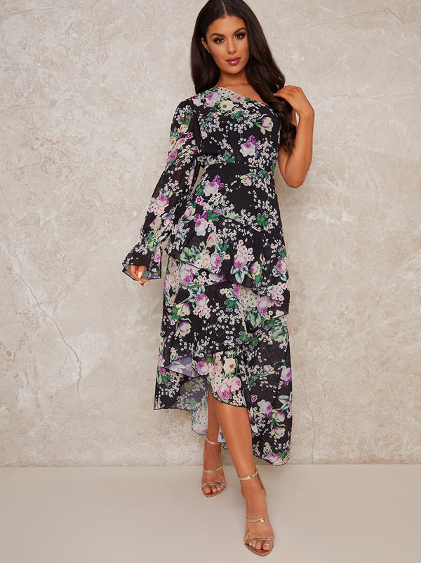 One Shoulder Floral Tiered Midi Dress in Black