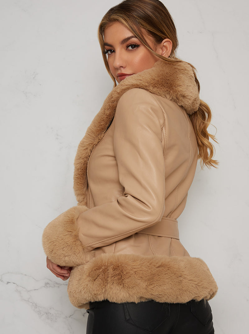 Faux Fur Cropped Belted Jacket In Brown