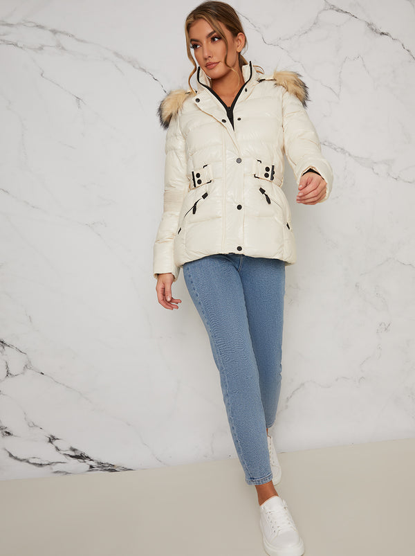 Padded Faux Fur Jacket In Cream