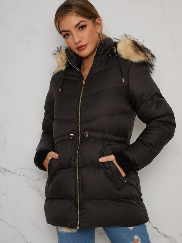 Faux Fur Puffer Belted Jacket In Black